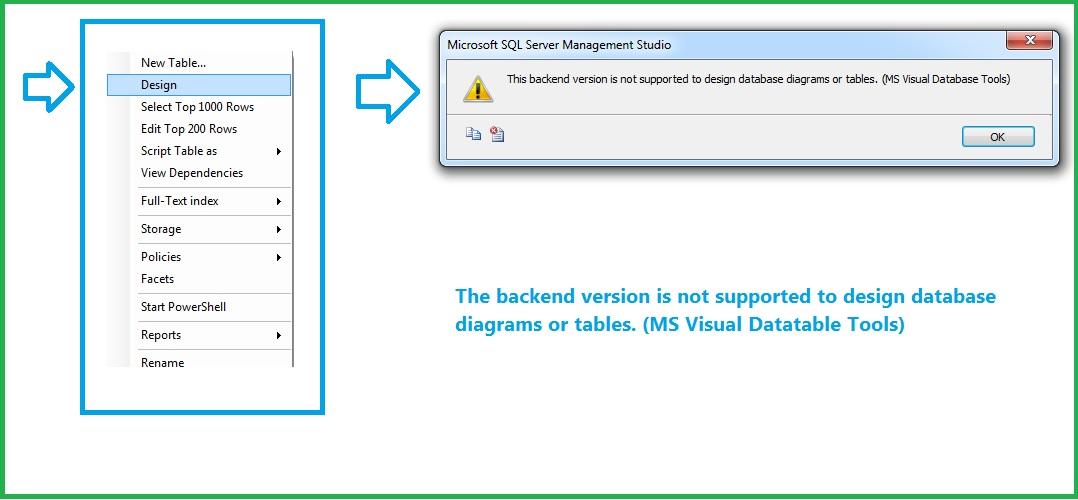 Error- Backend Version Not Supported - SQL Server Management Studio
