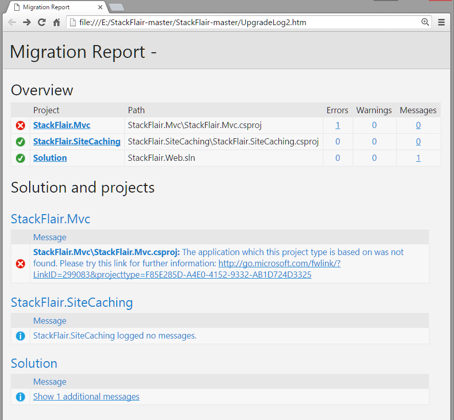 Project Upgrade Error- StackFlair.Web